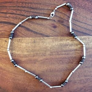 Edgy gunmetal, silver & hematite beaded necklace